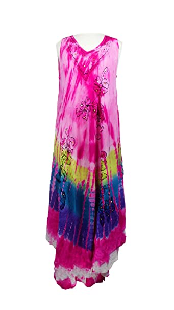 ace4ac229e Women's Indian Multi Colors Rainbow Print Tie Dye Free Size Sleeveless  Rayon Dress (PINK) at Amazon Women's Clothing store: