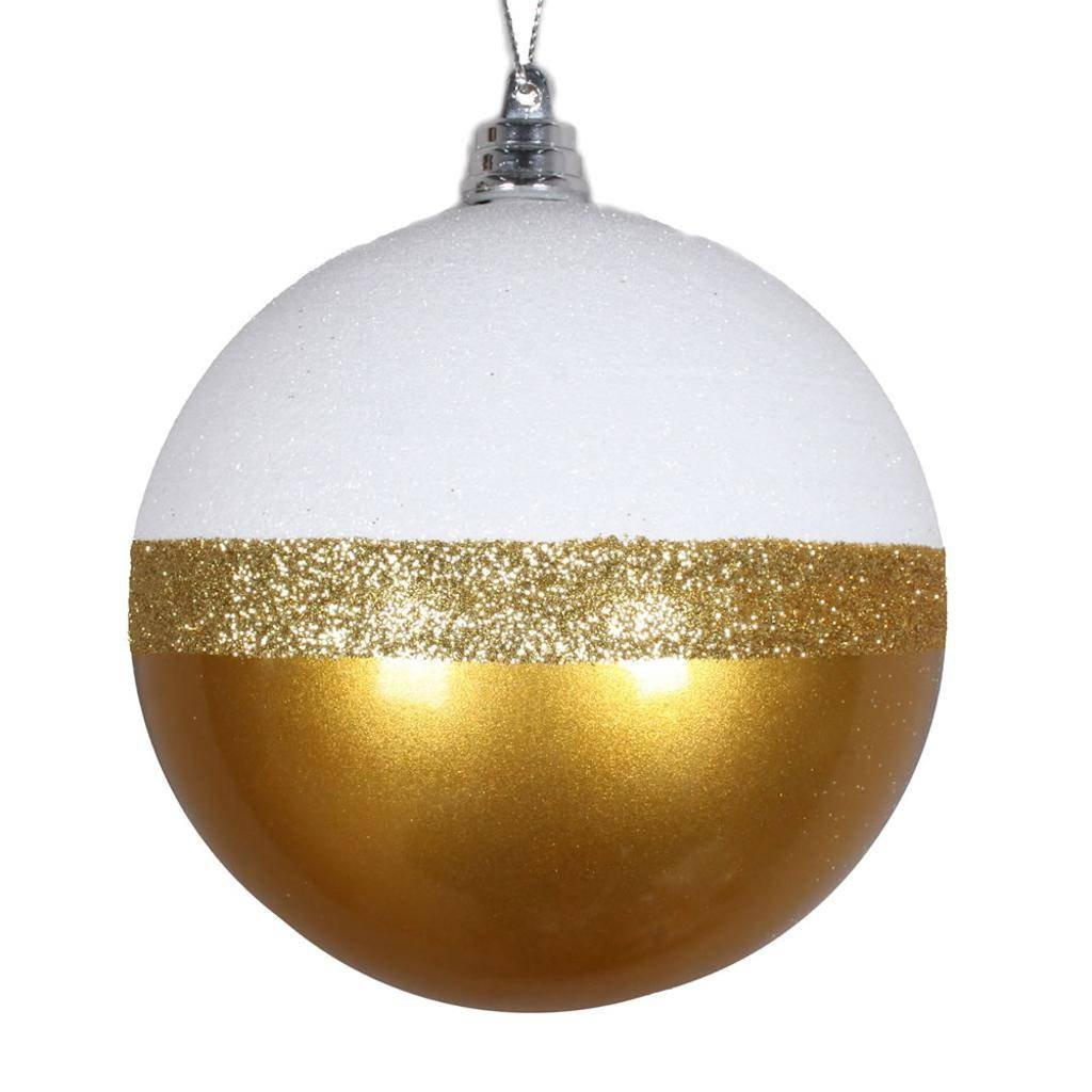 Vickerman 552889-3'' Gold/White Glitter Candy Durian Ball Christmas Tree Ornament (6 pack) (MT180608)