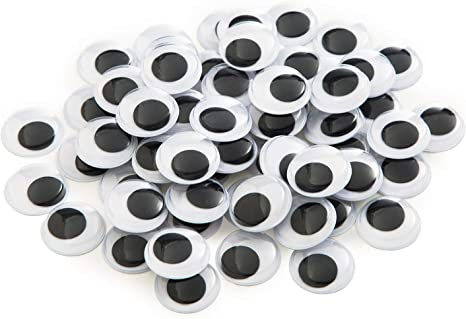 20mm, 200pcs BEADNOVA Black Wiggle Googly Eyes with Self Adhesive Sticker