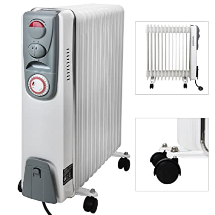 monzana® Radiador eléctrico de aceite | 13 elementos | 3 niveles de potencia | 1000W