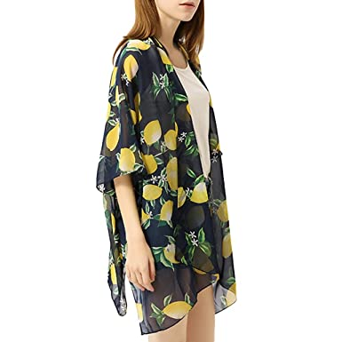 f468f4b66c Women's Bathing Suit Beach Cover up Swimsuit Kimono Cardigan with Bohemian  Floral Print (Black,