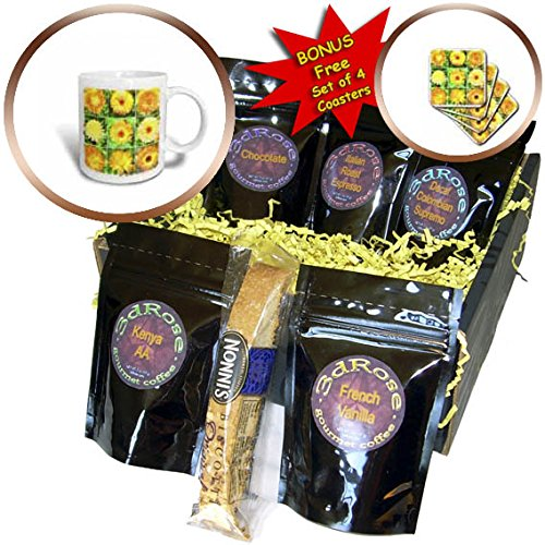 - 3dRose Taiche - Watercolor Painting - Marigolds - Watercolour Collage of Yellow And Orange Marigolds - Coffee Gift Baskets - Coffee Gift Basket (cgb_275632_1)
