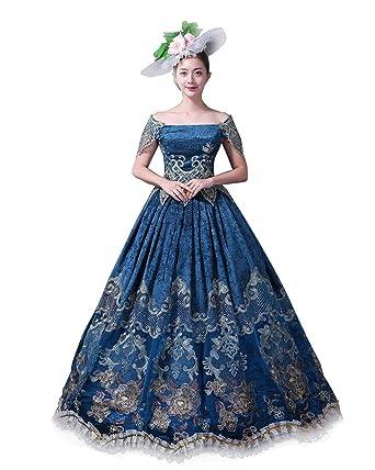 ab70ae491698 Zukzi Women's Elegant Recoco Victorian Dress Costume Ball Gowns, 1 Blue, ...