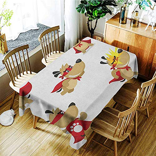 XXANS Large Rectangular Tablecloth,Dog,Superhero Puppy with Paw Costume and Mystic Powers Laser Vision Supreme Talents,Modern Minimalist,W54x90L Red Cream White]()