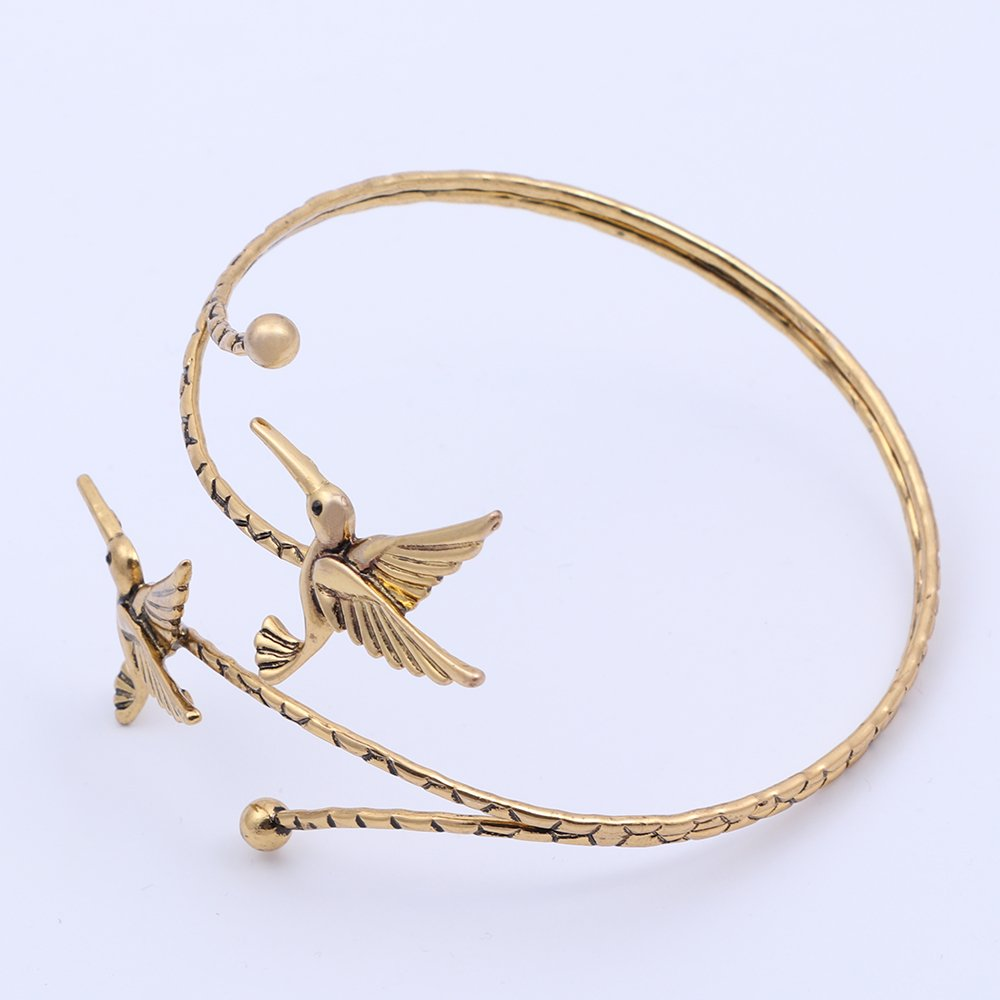 TUSHUO Simple Double Hummingbird Arm Bangle Bracelet Fashion Animal Bird Jewelry Upper Armlet Armband (Antique Gold) by TUSHUO (Image #2)