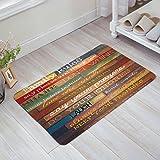 Family Rules Rustic Wood Doormat Non-Slip Rustic Old Front Door Mats for Home Kitchen Bathroom