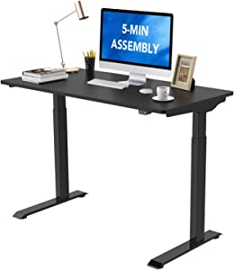 """Flexispot Standing Desk, Electric Height Adjustable Desk, 48 x 24 Inches Sit Stand Desk Home Office Table, Quick Install Computer Desk(Black Frame + 48"""" Black Top)"""