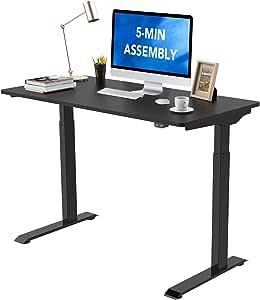 "Flexispot Standing Desk Electric Height Adjustable Desk Quick Install Computer Desk 48 x 24 Inches Sit Stand Desk Whole-Piece Desk Board (Black Frame + 48"" Black Top)"