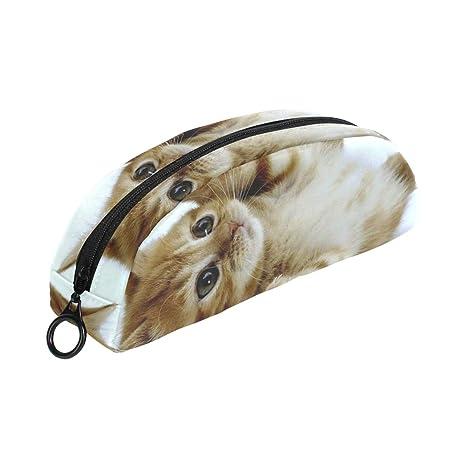 COOSUN Naugty - Estuche para lápices de gatos, semicircular, bolígrafo, bolsa, estuche