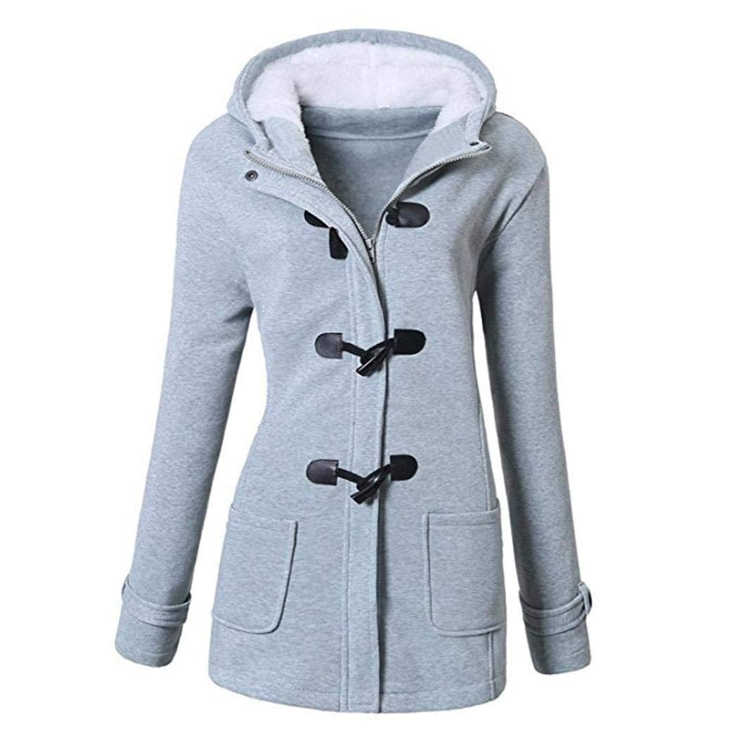Edited Mujer Exterior con Capucha Cuerno Hebilla de Cuero sólido Abrigo Outwear Abrigos