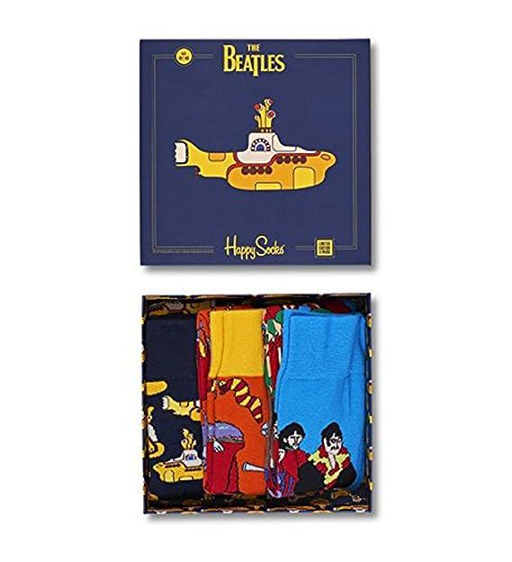 Happy Socks 3-pack Los Beatles Caja De Regalo De Calcetines Hombres Ep Colección, Azul De Marina De Guerra