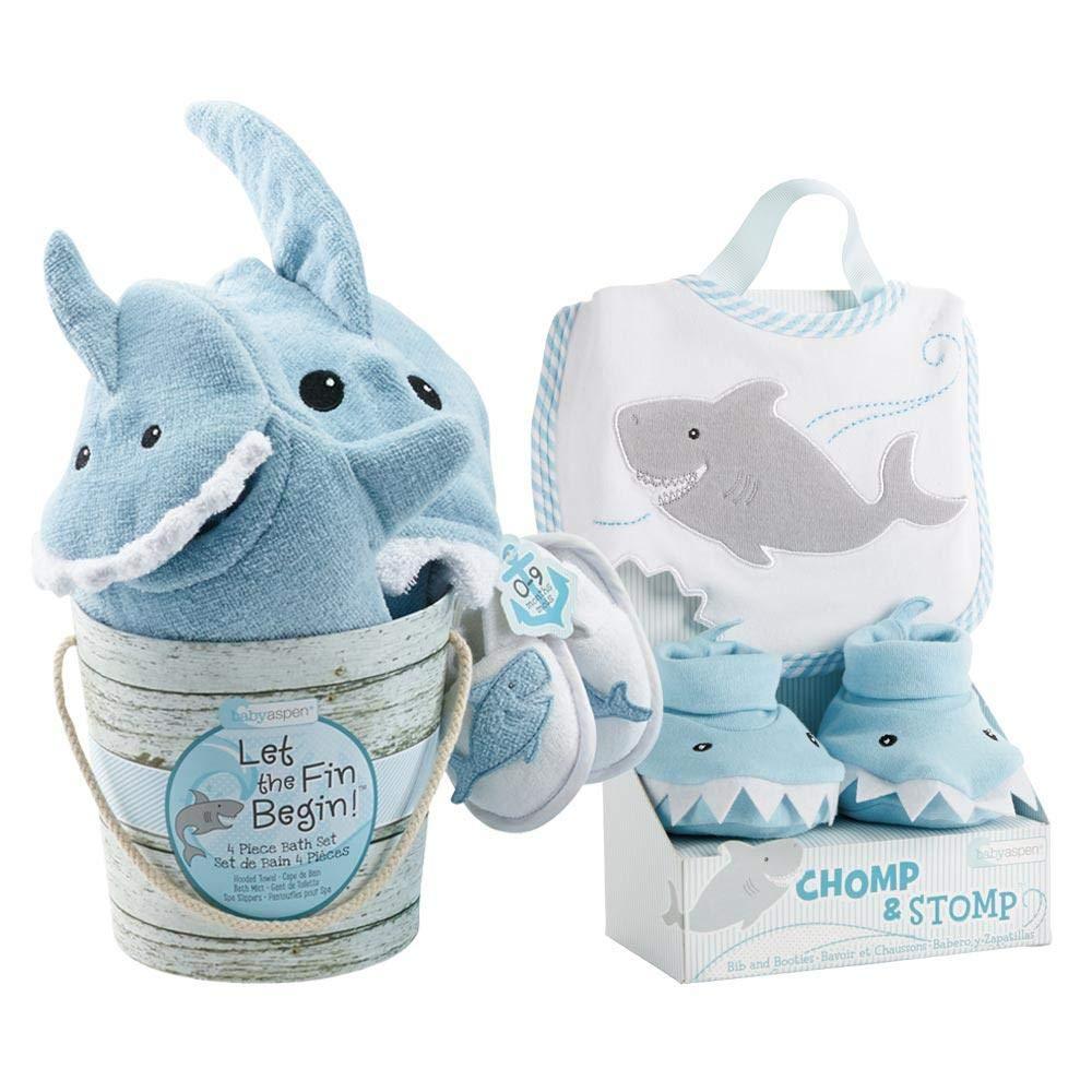 Baby Aspen Shark Baby 7Piece Gift Set Bundle - Boy, Blue