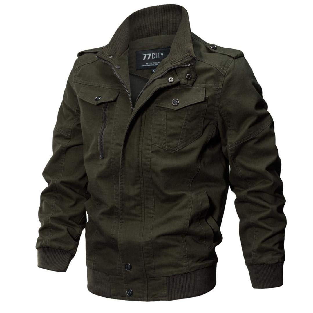 Hot Sale,Mens Heavyweight Jackets WUAI Long Sleeve Zip Slim Fit Plus Size Casual Military Outwear Breathable Coat(Army Green,US Size 5XL = Tag 6XL)