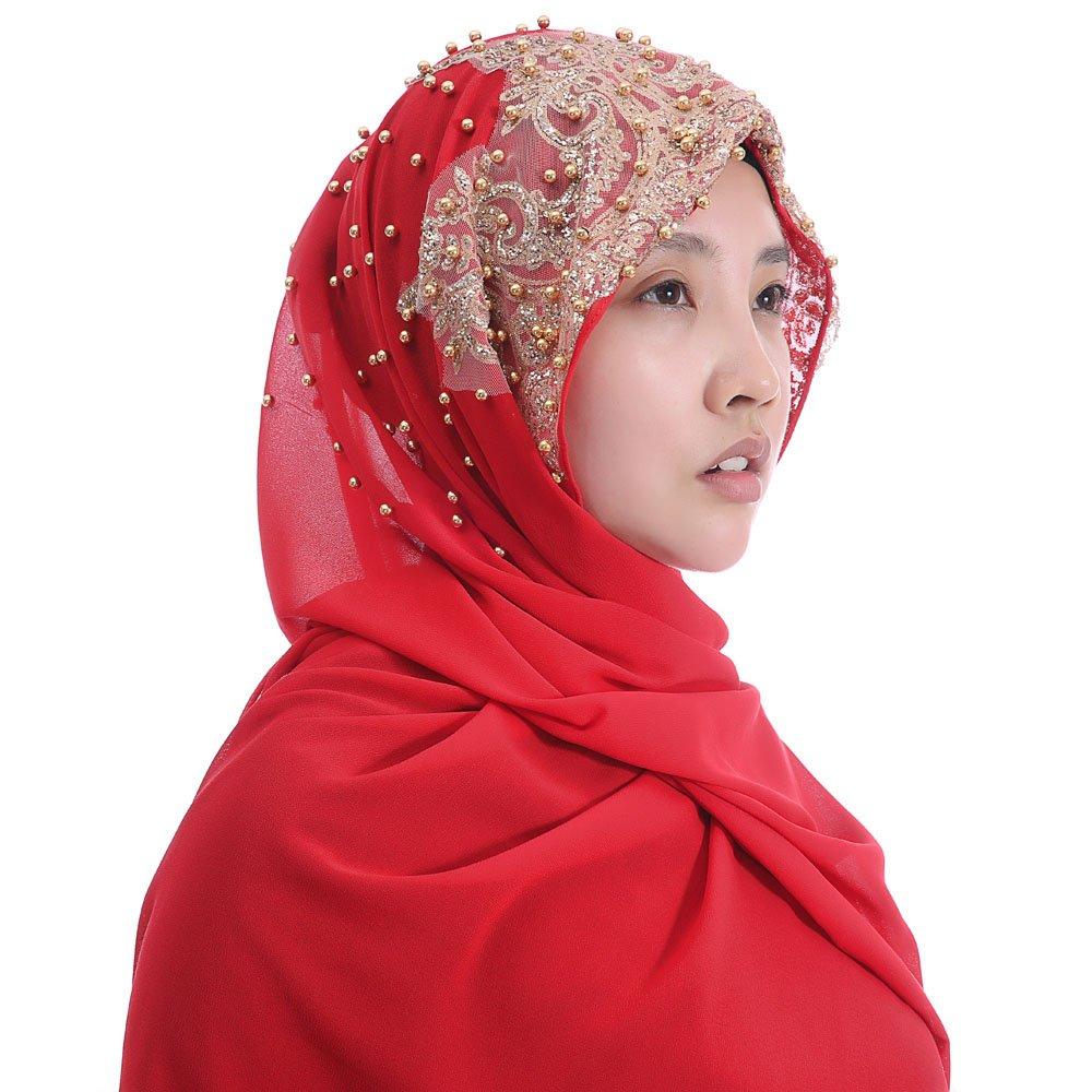 Lina & Lily Chiffon Muslim Hijab Shawl Gold Glitters Beads