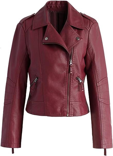Amazon.com: Mundo De piel Biker chamarra de piel moto rojo ...