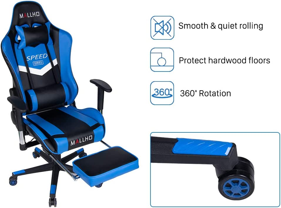 Polar Aurora Ergonomic Gaming Chair High Back Swivel Racing Office Chair PU Leather Sturdy Metal Frame with Adjustable Armrests and Footrest Blue