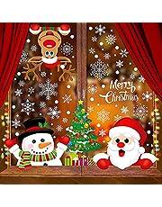 Tuopuda 315 STKS Kerst Window Cling Sticker, 10 Vellen Window Display Leuke Kerstman Sneeuwpop Rendier Dubbele Kanten Kerst Window Stickers Herbruikbare Xmas Decoraties voor Thuis/Winkel/Party