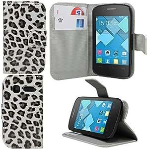 Sleek Gadgets®–Funda protectora de cuero para Alcatel OneTouch Pop C1Leopardo, color blanco