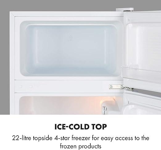Klarstein Big Daddy Cool – combinación nevera-congelador, Congelador encima, silencioso, eficiencia energética de clase A+, 83 L de capacidad, nevera de 61 L, congelador de 22 L, blanco: Amazon.es: Grandes electrodomésticos