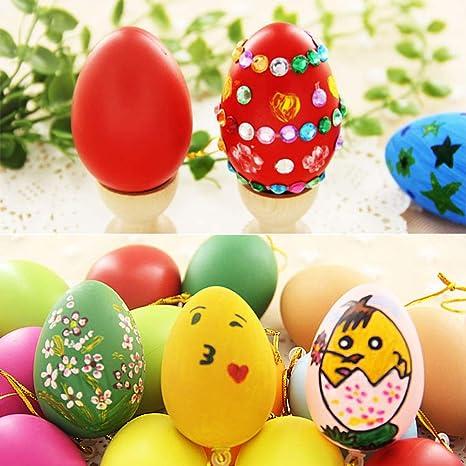 Weihuimei 12 Pz Bianco Uova Di Pasqua Pasqua Stampato Mini Uovo Appeso Decorazione Per Albero Di
