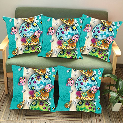 Aart Multi Color Floral Pattern Designer Cushion Cover (Set of 5) 16*16