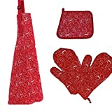 4pcs/set 1 Pair Heat Resistant Kitchen Oven Gloves + Cotton Apron + Toaster Mitts Pot Holder for Cooking Baking Barbecue (Red)