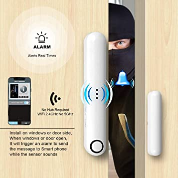 Safamily WiFi Door Window Sensor Alarm by APP Built-in Rechargeable Battery 40-50 dB Warning Tone Triggered for Home Security Alarm Monitor Your Door ...
