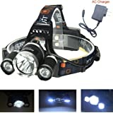 FM BORUIT 5000Lm 4 Modes CREE XML L2 2R5 Second Generation LED Headlamp Rechargeable Headamp Headlight Camping Fishing Light +US plug AC charger(No batteries included)