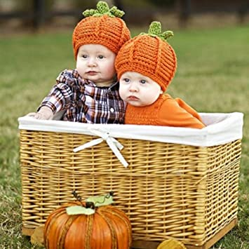 55f9feeb8d0 Amazon.com  Kids Halloween Cotton Pumpkin Hat Baby Headgear Infant ...
