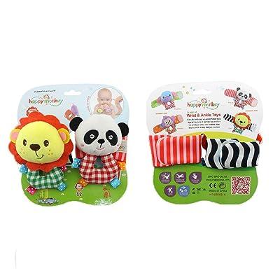2 Piezas De Sonajeros Para Bebés Con Suaves Juguetes De Desarrollo Animal Que Hacen Sonar Las Manos De Los Bebés Para Bebés De 0 A 6 Meses (león Y Panda): Bebé