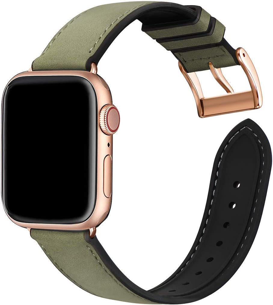 Bestig Compatible with Apple Watch Bands,Waterproof Genuine Leather and Silicone Hybrid Strap for iwach SE Series 6 5 4 3 2 1,Sports Edition(Army Green Band+Rosegold Connector,38mm 40mm)[Upgraded]