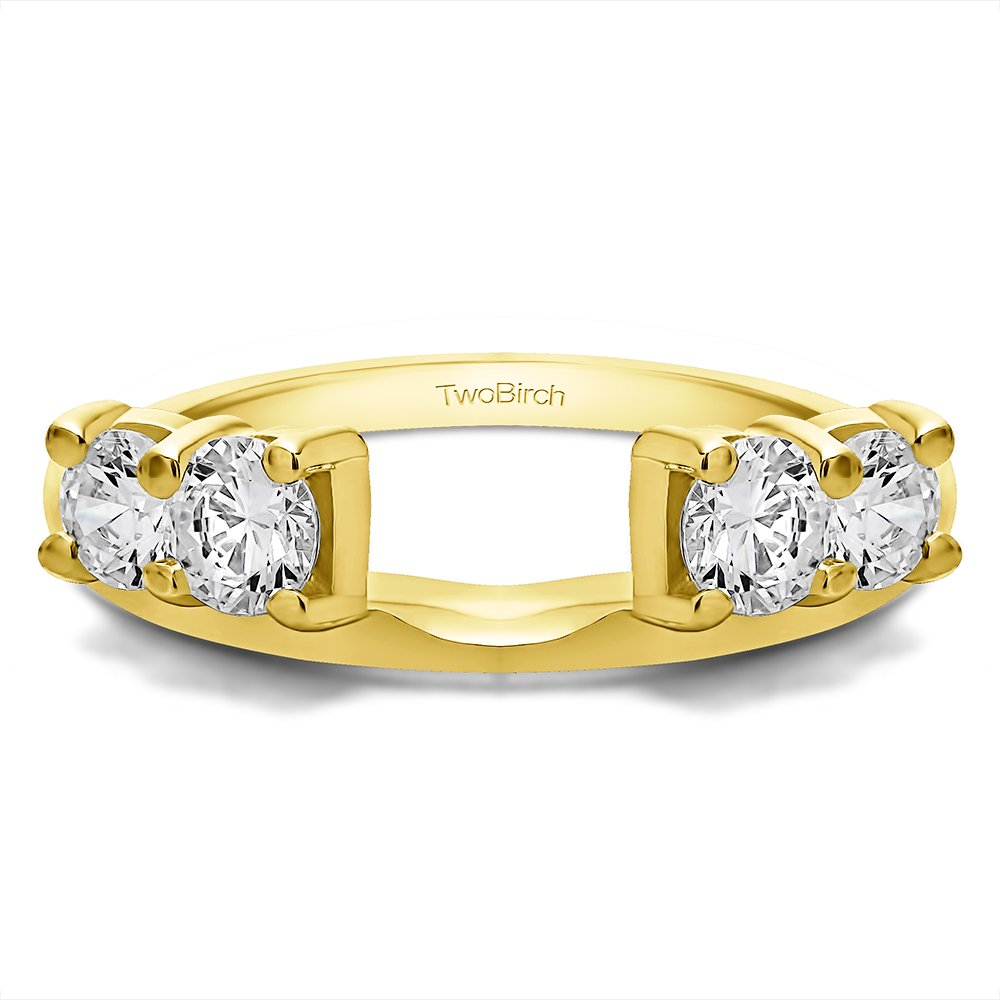 Diamond Traditional Style Ring Wrap in 10K Yellow Gold G-H I2(0.15Ct)Size 3 To 15 in 1/4 Size Interval by TwoBirch