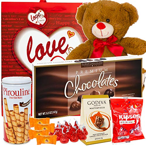 (Valentines Day Gift Basket Set | 12 Inch Teddy Bear Plush(COLOR VARYS), Hershey Kisses, Pirouline Wafers, Elmer Sampler Chocolate, Godiva Caramel Milk Candies, V-Day Gift Bag For Her Wife Girlfriend)