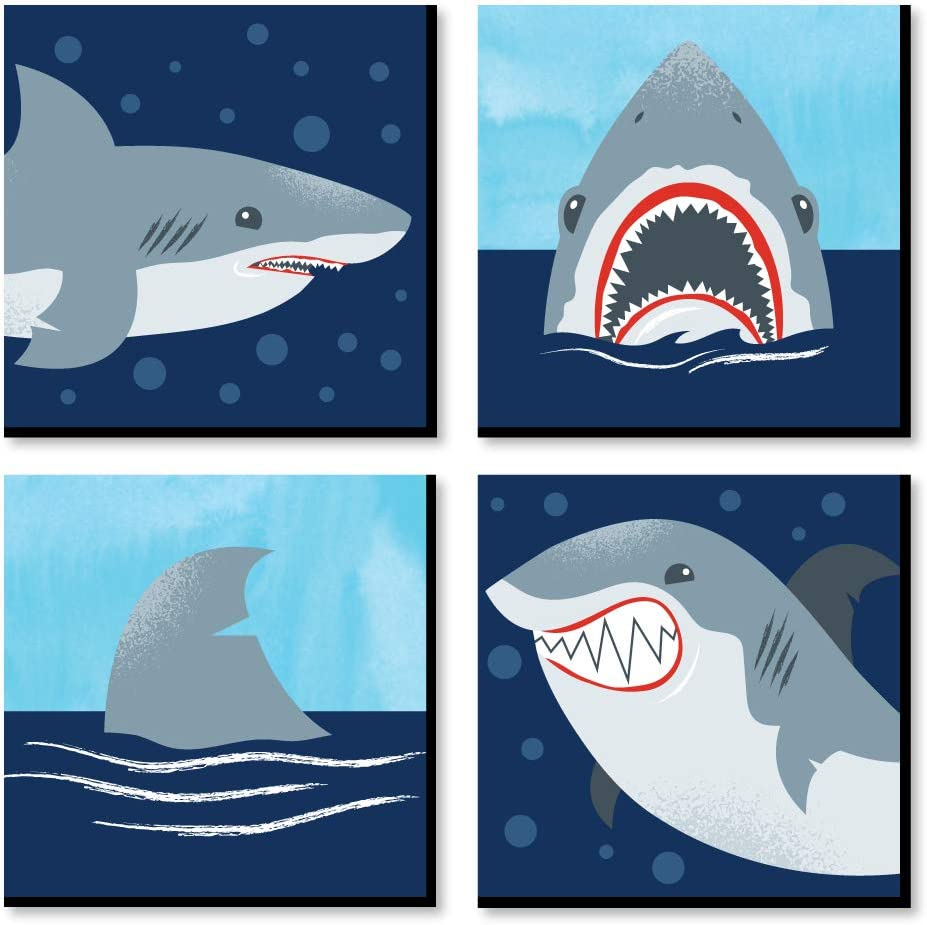 Big Dot of Happiness Shark Zone - Kids Room and Home Decor - 11 x 11 inches Wall Art - Set of 4 Prints for Kid's Room
