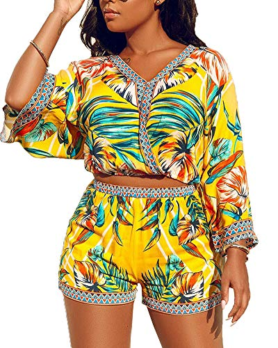 (Women Crop Top and Shorts Set - Sexy Beach Outfits Summer Floral Two Piece Set Bright Yellow M)
