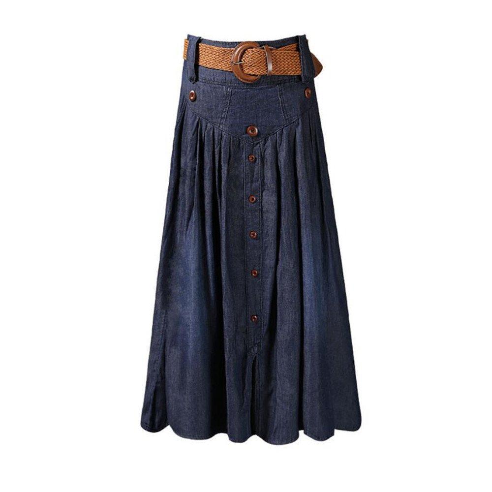 hc11-Mujer Vestidos Ropa De Mujer Moda Falda Larga Falda Falda Larga  Plisada Falda Vaquera Dividida Cintura Alta hc11-clothing