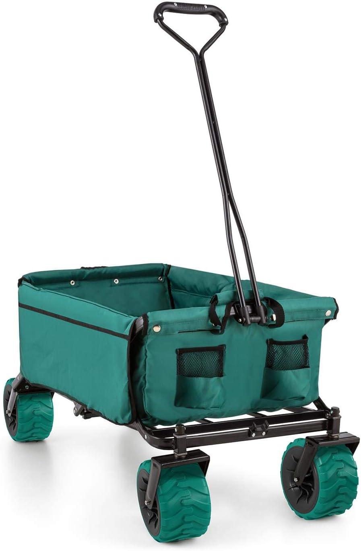 Waldbeck The Green Carro Transporte Plegable jardín (Carga máxima 70kg, 90L Volumen, Bolsillos Laterales, Ruedas Anchas, Suelo Reforzado Acolchado) - Verde