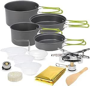 Lixada Utensilios de Cocina de Camping de Aluminio con Estufa de Camping para Cocina Camping Picnic 2-3 Personas