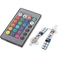 figatia 2pcs 880 881 H1 H3 RGB LED Carro Farol Luzes de Nevoeiro Lâmpadas - H1 Plug