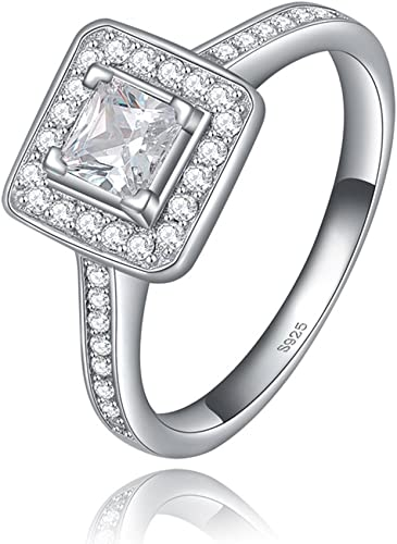 F/&F Jewelry Luxury Prince Cut White Zircon Silver Color Ring Jewelry for Women Wedding Engagement Rings