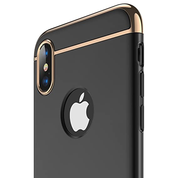 846c197ca205e RANVOO iPhone X Case, iPhone 10 case, Thin and Slim Hard 3 in 1 Stylish  Cover Matte Surface with Electroplate Frame Case (Black)