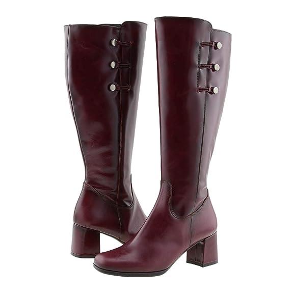 4a89a04f86 Botas Piel Lisa con Brillo y Adornos Tolino Talla  37 Color  Burdeos   Amazon.es  Zapatos y complementos
