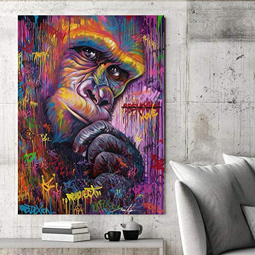 Faicai Art King Kong Gorilla Pop Art Paintings Abstract Graffiti Colorful Street Art Animal Wall Art Canvas Prints Modern Home Decor Artwork Pictures for Living Room Office Wooden Framed ()