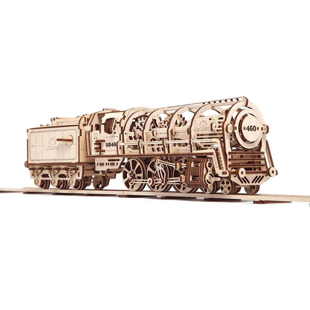 UGears Mechanical Models 3-D Wooden Puzzle - Mechanical Steam Locomotive Train Engine 014