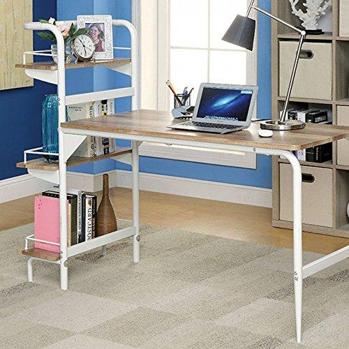 Maisy Computer Desk With Book Shelf White Powder Coating Finish