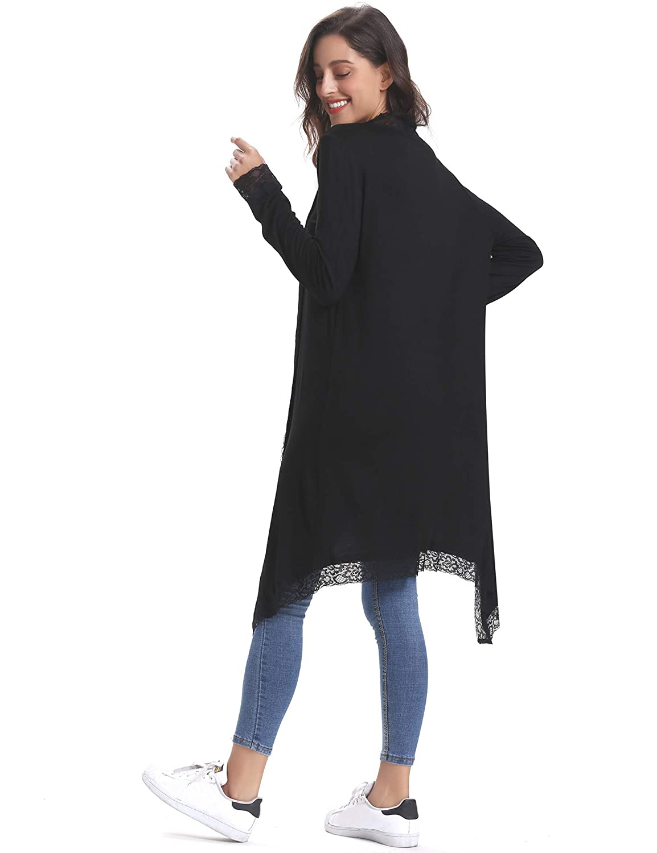 8720eb83ba74 Aibrou Gilet Femme Léger avec Dentelle Cardigan Long Outwear Casual Ample  Boléro Femme