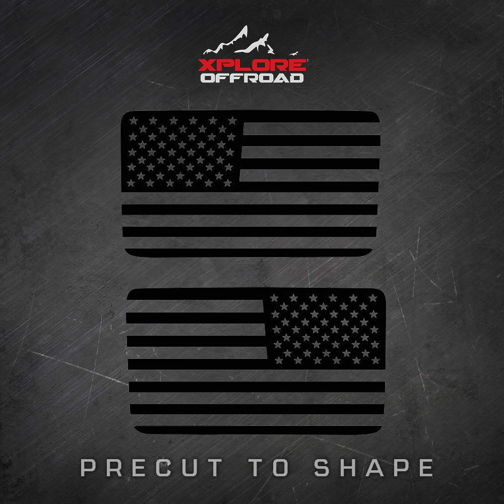 Precut USA Flag Window Decals Jeep Wrangler Cut To Shape // No Trimming Required Free Installation Tool Includes Pair 4 Door Matte Black American Vinyl for Rear Side Window JKU 2007-2017