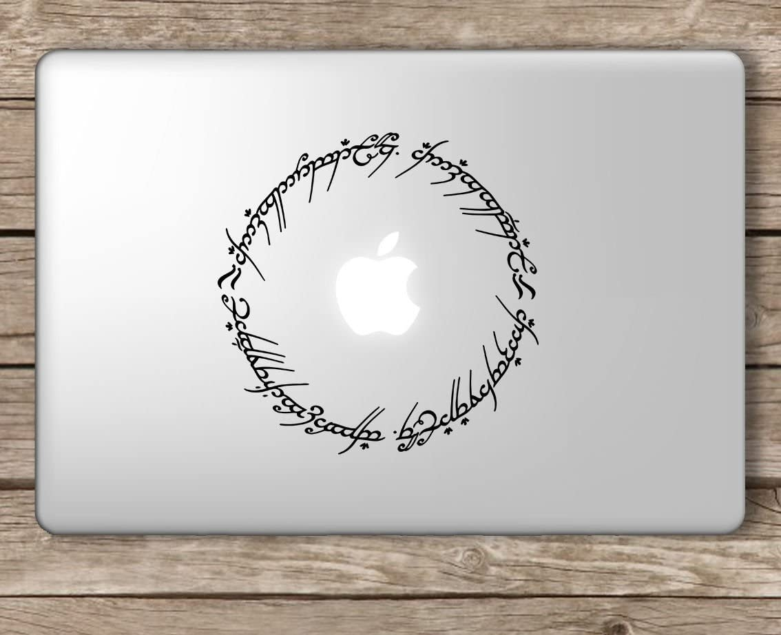 Elvish Script Lord of The Rings - Apple MacBook Laptop Vinyl Sticker Decal, Die Cut Vinyl Decal for Windows, Cars, Trucks, Tool Boxes, laptops, MacBook - virtually Any Hard, Smooth Surface