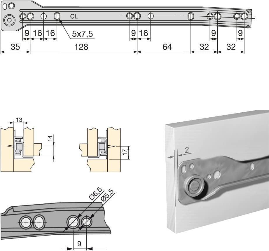 5 St/ück 550 mm Emuca 3019725 Schubladenf/ührungen mit Rollen und Teilauszug aluminium lackiert