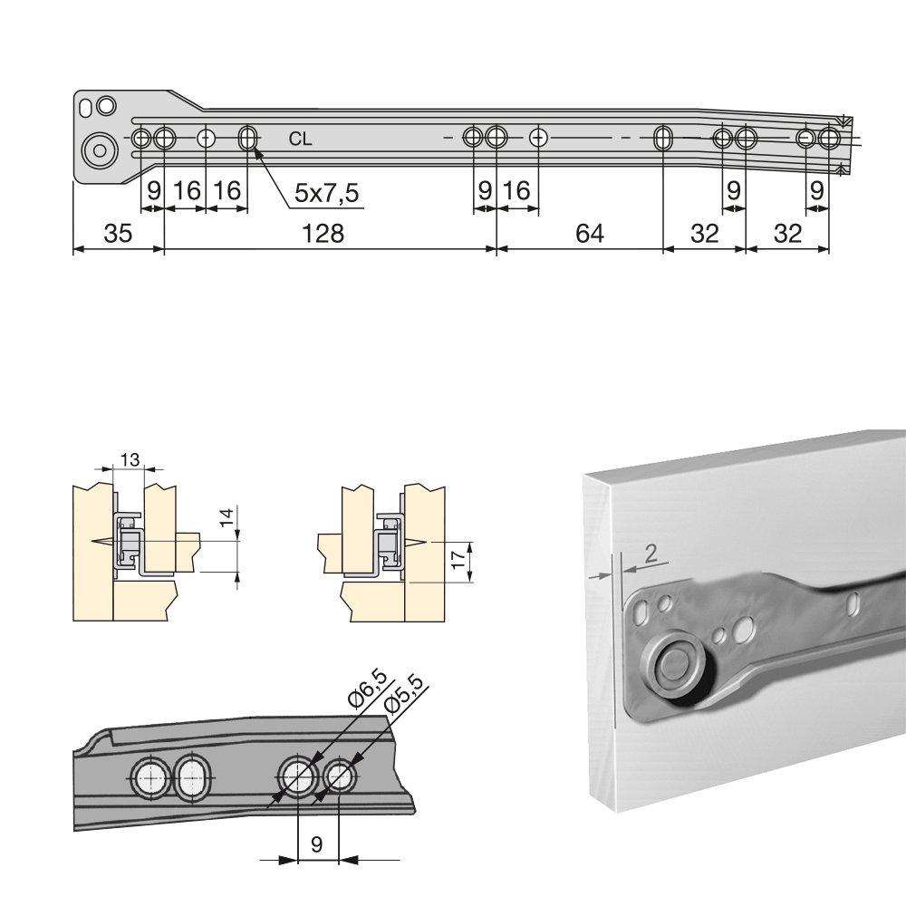 Grigio Metallizzato Emuca 3019625 Guida-Binario con Cuscinetti a Rulli per Cassetto Set di 5 250 mm
